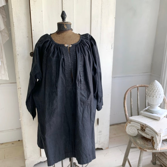 WOW !! ~ French Antique Men's smock dyed indigo bl