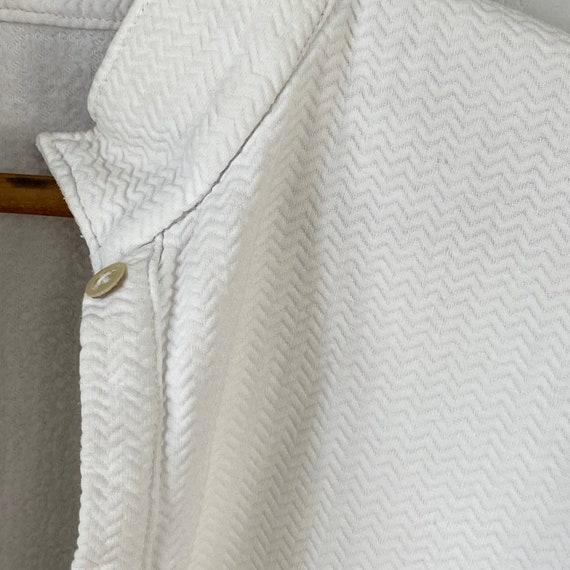 White Brushed Cotton Shirt Textured Sleepwear 192… - image 7