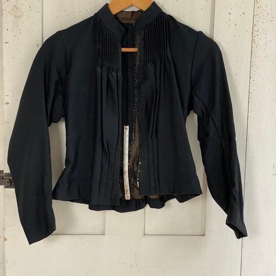 Victorian French Shirt Black Silk Blouse or Antiq… - image 3