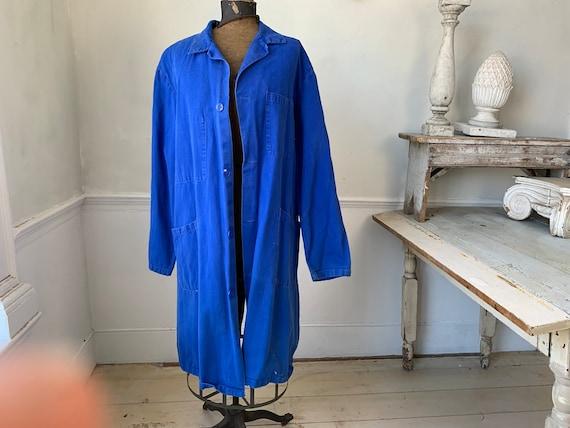 Vintage Jacket French Long Prussian Blue Lab Coat… - image 6