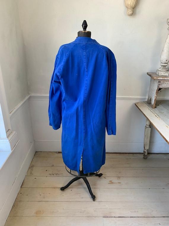 Vintage Jacket French Long Prussian Blue Lab Coat… - image 4