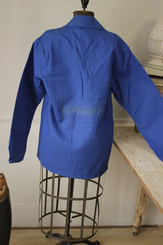 Jacket Vintage French Blue Coat Work wear button … - image 8