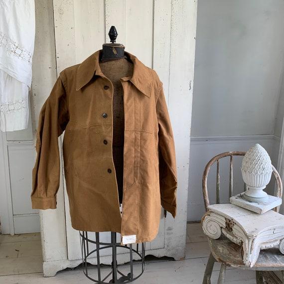 Vintage Canvas Jacket Heavy Brown Cotton Unused F… - image 4