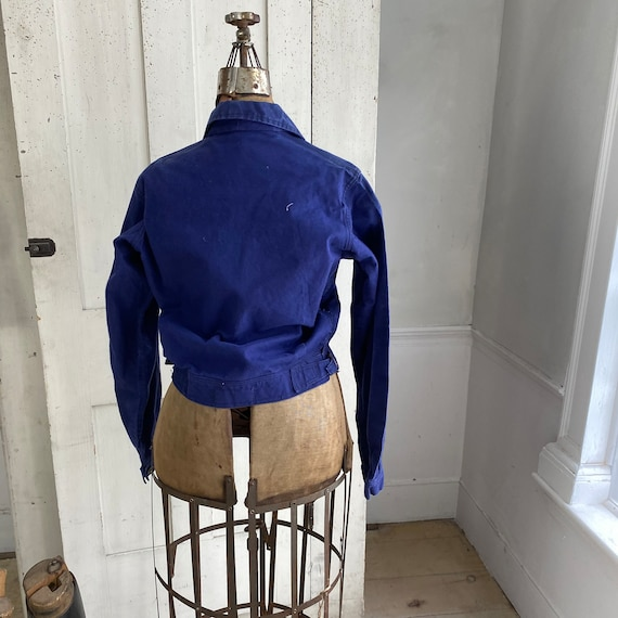 Vintage Jacket French Workwear Dark Blue Coat Zip… - image 9