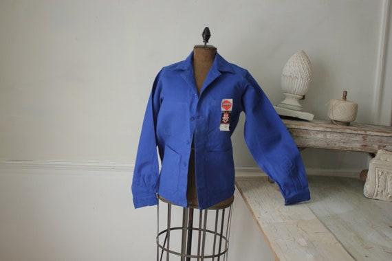 Jacket Vintage French Blue Coat Work wear button … - image 2