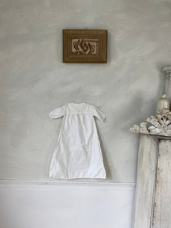 Antique English Christening Gown late 1800s eyelet