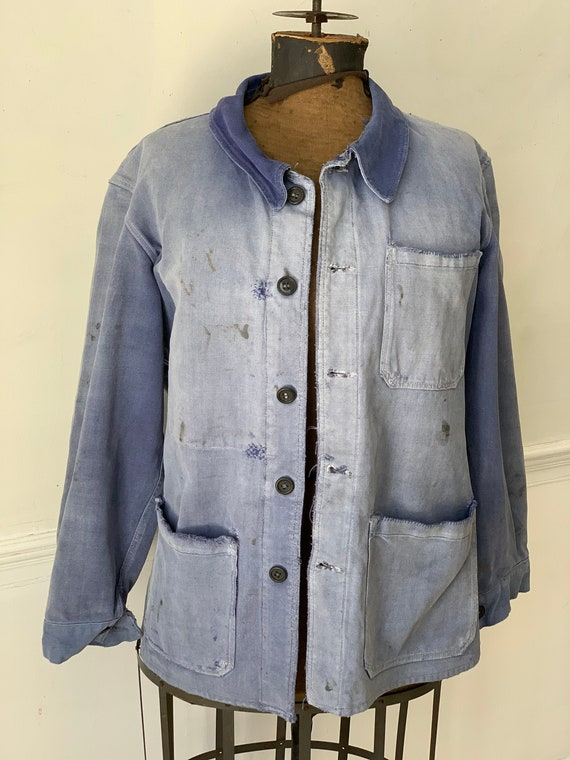 Vintage Jean Jacket French Blue Workwear Faded Ant