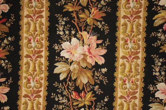 Vintage Jute or Hessian printed French burlap Floral fabric 1960/'s-70/'s chatillon fleur de lis