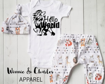 Hello World Bodysuit, Baby Boy Gift, Take Home Outfit, Going Home Outfit, Baby Boy Clothing, Baby Shower Gift, Personalized Baby Clothing