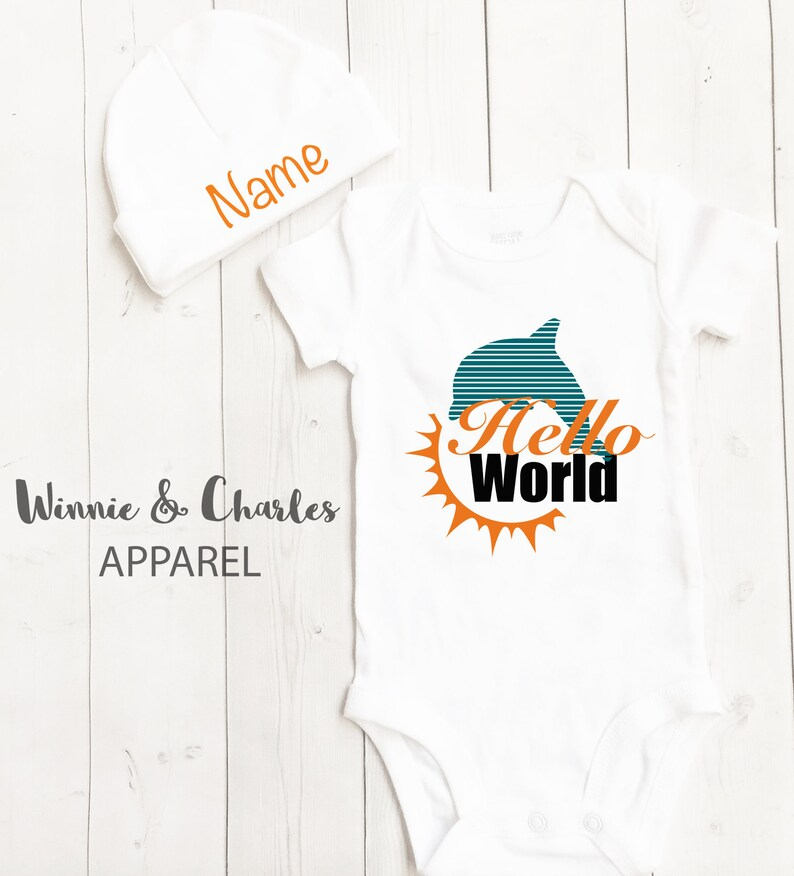 c6570131 Hello World Bodysuit, Miami Dolphins Baby, Baby Take Home Outfit, Coming  Home Outfit, Unisex Clothing, Baby Shower Gift