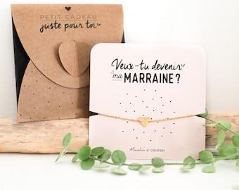 Bracelet Marraine Coeur | Acier Inoxydable | Veux-tu Devenir ma Marraine ? | Bracelet d'annonce Naissance, Bracelet de Demande Marraine