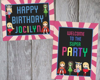 superhero girl birthday signs girl superheroes decorations etsy