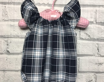 Handmade girls spring check romper outfit - summer, toddler, baby girl