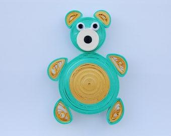 Cute teddy bear magnet. Fridge magnet. Quilled teddy bear. Paper magnet. Care bear green magnet. Kitchen magnet. Quilled magnet.