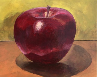 Apple Still Life, Original Small Painting by Asheville Artist, 6x6