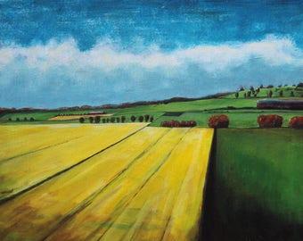 Scottish Fields.  Original painting.  12x16.