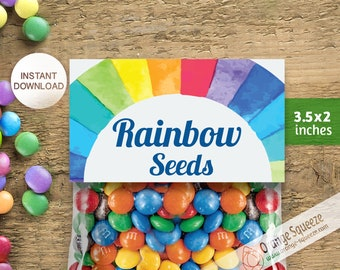 Rainbow Seeds Instant Download Treat Bag Tags, Rainbow Seeds, Topper, DIY Printable Tag (Digital File)