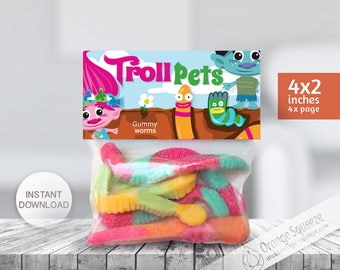 INSTANT DOWNLOAD, Trolls Label bag, Treat Bag Toppers Trolls, Troll pets, Trolls Theme, Trolls Party, Trolls Favor labels, Birthday Party