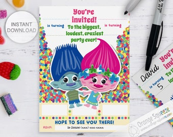 INSTANT DOWNLOAD Trolls Sibling Invitation, Sibling Invite, Twins Invitation, Designed to be printed and handwritten, Fill in blanks
