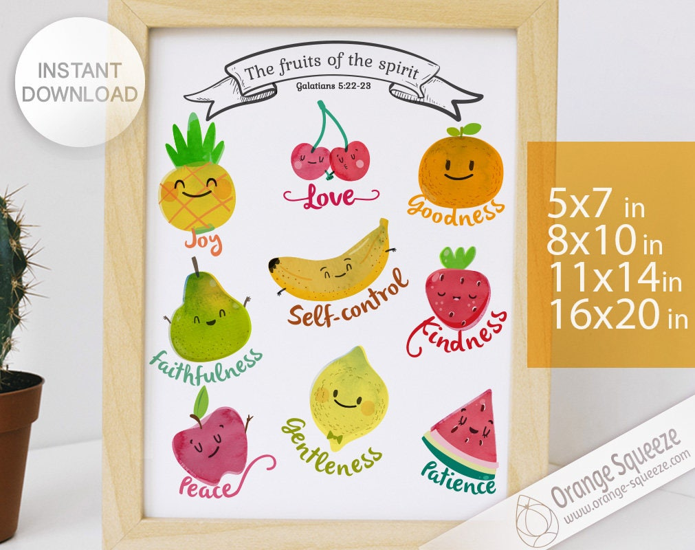 Fruits of the Spirit Wall Art Printable Galatians 5:22