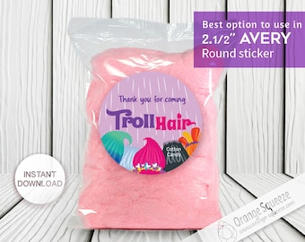 """INSTANT DOWNLOAD Trolls hair Cotton Candy - 2 1/2"""" Round Labels Printables on AVERY, Stickers, Trolls Hair, Trolls Party, Trolls labels"""