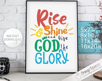 Christian art decor, christian nursery, Rise and Shine and Give God the Glory - PERSONALIZED COLOR - Christian Home Decor - Christian
