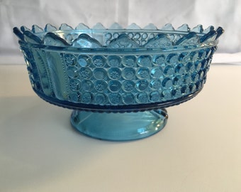 Eapg Rare Canadian  Button and Buckle  8.5 in. Blue Glass Footed Bowl