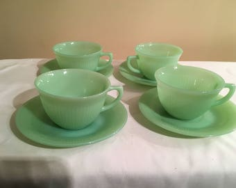 Set of 4 Fire King Jane Ray Jadeite Cups and Saucers