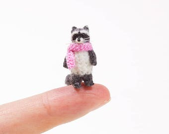 Micro amigurumi Raccoon, tiny crochet Raccoon , miniature Raccoon