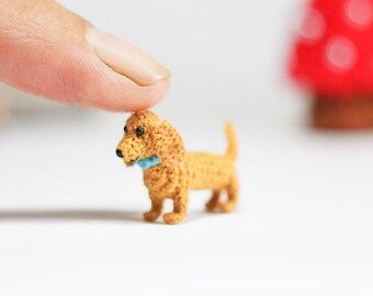 Miniature Dachshund dog - Tiny amigurumi crochet animal