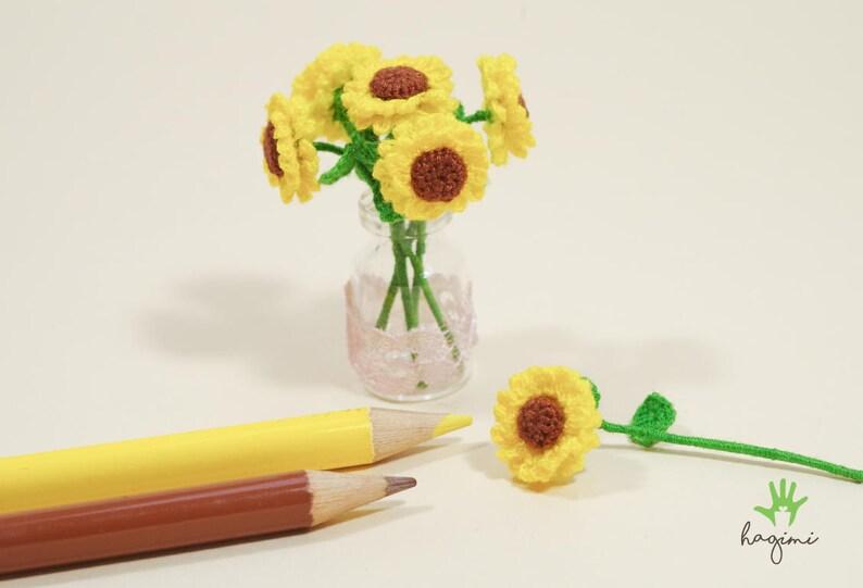 Miniature Sunflower Crochet Tiny Sunflower Dollhouse Miniature Flowers Crocheted Flower