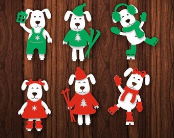christmas tree toy dog new year 2018 wooden paper laser cut cnc file vector art dxf cad silhouette template souvenir shape model