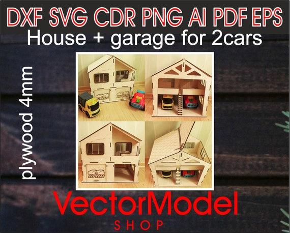 Holzhaus Holzgarage Baby Spielzeug Holz Laser Geschnitten Cnc Datei Vektor Kunst Dxf Cad Silhouette Vorlage Souvenir Form Modell