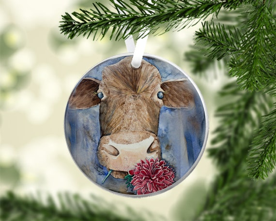 image 0 - Cow Ornament Cow Christmas Ornament Cow Print Acrylic Etsy