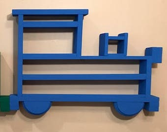 Wooden Wall Shelving/Display Case or Rack for Thomas and Other Small Trains, Cars and Trucks