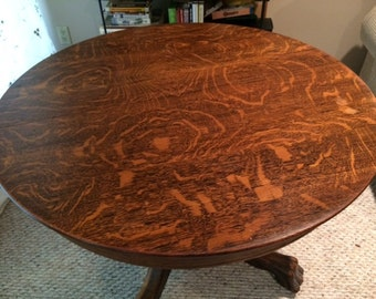 Antique Clawfoot Tiger Oak Dining Table With Glass Top  PICKUP ONLY!