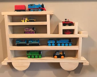 Wooden Wall Shelving/Storage Case or Rack for Thomas and Other Small Trains, Cars and Trucks