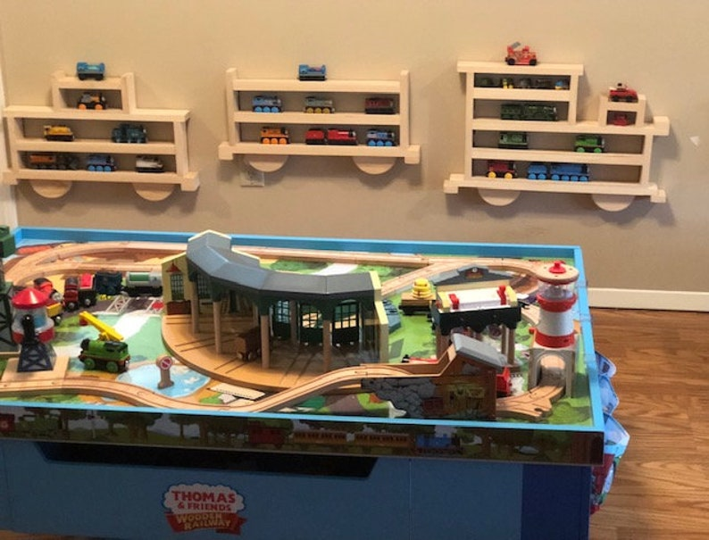 Train Rack Train Shaped Wooden Train Rack To Display And Store Your Little Ones Thomas The Tank Engine Brio And Other Small Trains