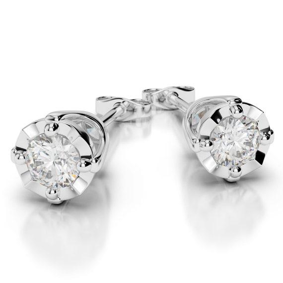18K White Gold Diamond Cluster Impressive Stud Earrings   288