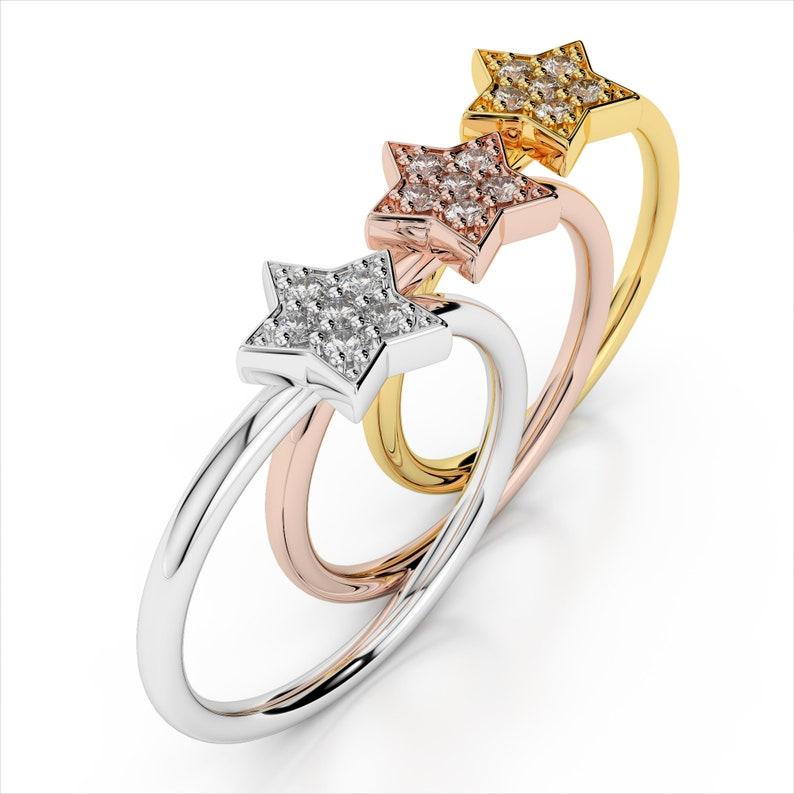 6d8029db9 Diamond Star Fashion Ring 0.06 carat total SI1 Clarity I   Etsy