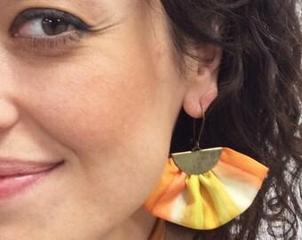 Boho earrings. Big earrings. Textile earrings. Orange earrings. Fan earrings. Hand painted silk. One of a kind.