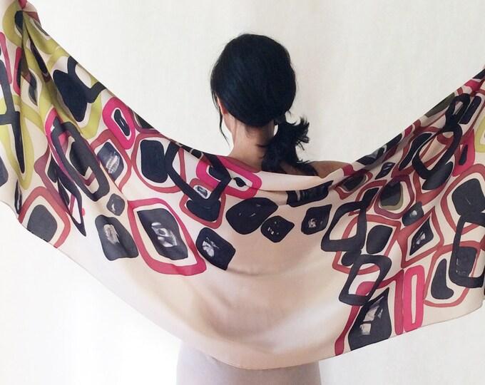 Modern shawl. Guest wedding shawl. Big scarf for women. Handpainted silk scarf. Kimono style.