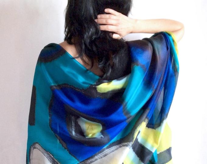 Wedding shawl, Bridesmaid shawl, Silk shawl, Blue shawl, Hand painted scarf, Shawl inspired by the sea, Ready to be shipped