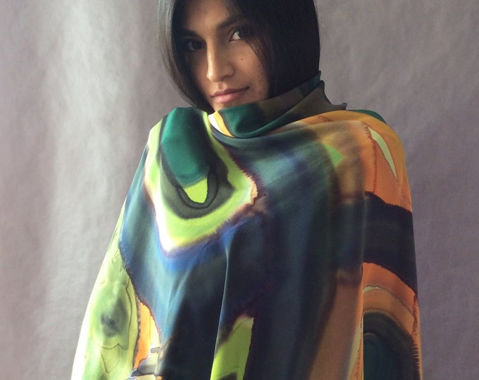 Design silk shawl. Hand-painted big scarf. Elegant shawl for bride or celebration. For woman. For mom.