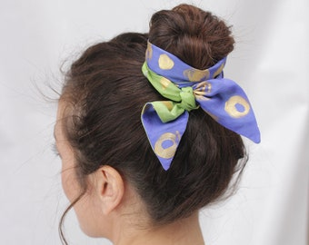 Hairband, headband, skinny scarf, neck scarf, headband, scarf double-sided, silk neckerchief, hand painted scarf, ready to be shipped