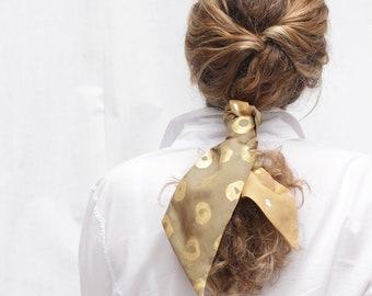 Ponytail ribbon, Hair bun scarf, Hairband, headband, skinny scarf, neck scarf, scarf double-sided, hand painted scarf