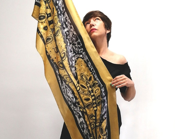 Wedding scarf, Scarf for women, Gold scarf, Tree scarf, Hand painted scarf, Eco scarf, gift wedding, ready to be shipped
