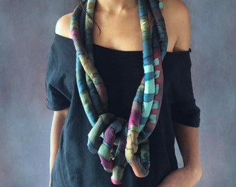 Oversize necklace. Statement necklace. Chunky necklace. Textile jewelry. Infinity scarf. Gift for her