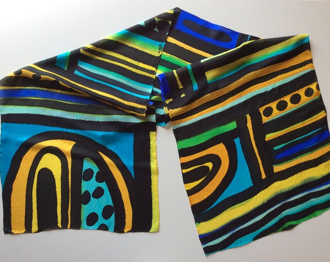 Africa scarf. Silk scarf for women Scarf for men. Colorful and vibrant scarf hand painted. Original gift hand painted.