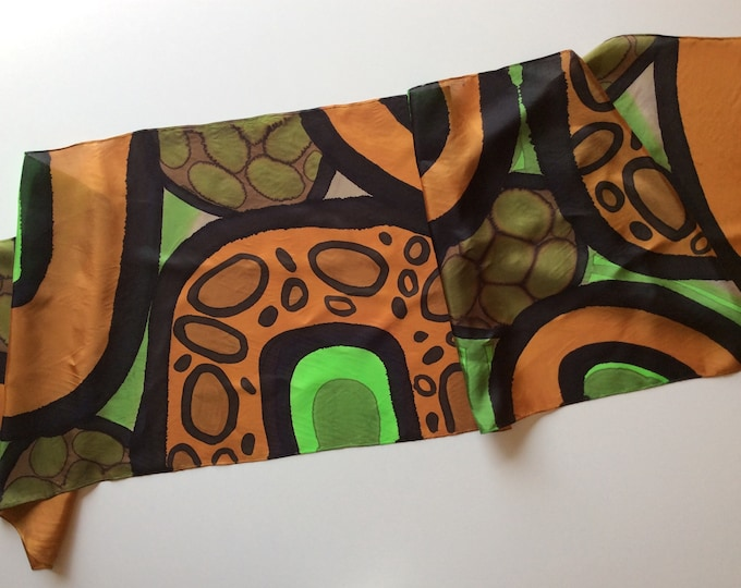 Hand painted silk scarf for woman. Scarf for man. Unisex scarf. Original gift.